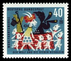 German stamp art 1960s; Billy Goat's fairy tale. Scan of 2 d image in the public domain believed to be free to use without restriction in the US.