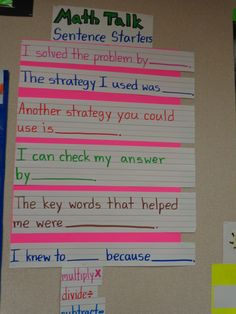 math sentence starters More Math Charts, Math Anchor Charts, Math Sentence Starters, Sentence Stems, Sentence Writing, Maths Starters, Fifth Grade Math, Grade 3, Fourth Grade