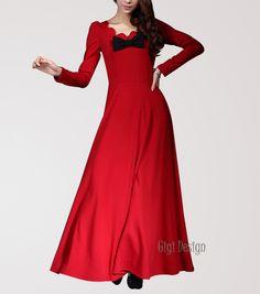 Maxikleider - Rote Blume Hals Frühjahr lange Maxi-Kleid - ein Designerstück von Gigidesign bei DaWanda