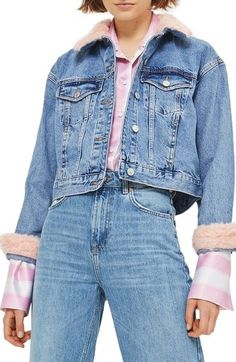 Women's Topshop Tilda Faux Fur Crop Denim Jacket