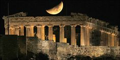 A crescent moon is seen over the Parthenon atop Athens' ancient Acropolis Patras, Ancient Greek Architecture, Gothic Architecture, Beautiful Architecture, Architecture Design, Oh The Places You'll Go, Places To Visit, Athena Goddess, Athens Greece