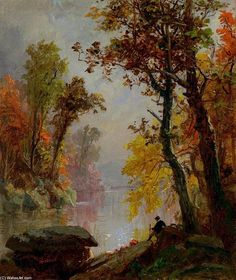 'Resting by the Riverside', Oil On Canvas by Jasper Francis Cropsey (1823-1900, United States)