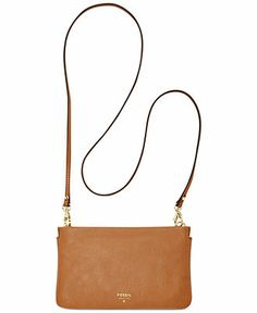 Fossil Soild Leather Mini Crossbody Handbags   Accessories - Macy s 354e584568fb2