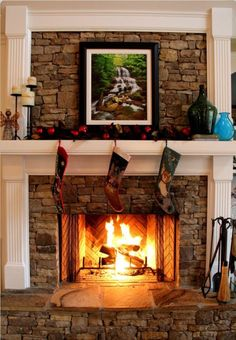 Fireplace ~ stone with painted wood mantel