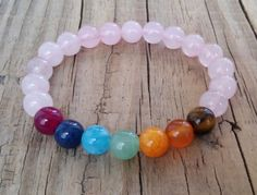 Pink rose quartz bracelet with 7 chakra от HarmonyLifeShop на Etsy