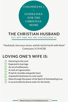 The Christian Husband, Colossians 3| Our Little Pond