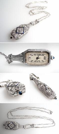 Art Deco Diamond & Sapphire Pendant Necklace Watch Platinum & 14K White Gold - EraGem #AntiqueJewelry