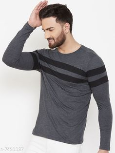 Checkout this latest Tshirts Product Name: *Trendy Men's T-Shirt* Fabric: Cotton Sleeve Length: Long Sleeves Pattern: Printed Multipack: 1 Sizes: S (Chest Size: 37 in, Length Size: 27 in)  Easy Returns Available In Case Of Any Issue   Catalog Rating: ★4 (235)  Catalog Name: Trendy Men's T-Shirt CatalogID_1207189 C70-SC1205 Code: 363-7493327-999