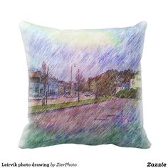 Leirvik photo drawing pillow