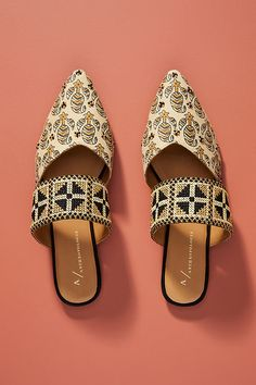 Paz Beaded Slides by Anthropologie in Assorted Size: Flats Mule Sandals, Shoes Sandals, Valentino, Womens High Heels, Womens Flats, Designer Shoes, Me Too Shoes, Fashion Shoes, Footwear