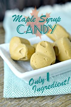 How to make a delicious Maple Syrup Candy with just one ingredient! How to make a delicious Maple Syrup Candy with just one ingredient! Maple Syrup Candy Recipe, Homemade Maple Syrup, Maple Syrup Recipes, Fudge Recipes, Dessert Recipes, Paleo Dessert, Sauce Recipes, Drink Recipes, Vegan Recipes