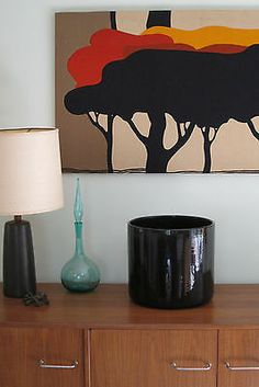 Gainey Ceramics Black Planter AC 12 Mid Century Modern Architectural Pottery