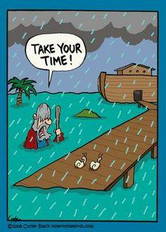 "Noah's Ark - Faith Humor from ""What's That Funny Look on Your Faith?:Inherit the Mirth"" by Cuyler Black Christian Comics, Christian Cartoons, Christian Jokes, Haha Funny, Funny Cute, Funny Jokes, Hilarious, Funny Cartoons, Funny Comics"