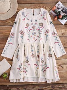 Embroidered Smock Dress With Slip Dress - OFF WHITE   Style: Cute   Occasions: Causal,Day,Night Out   Material: Cotton,Polyester   Dresses Length: Knee-Length   Silhouette: A-Line   Collar-line: Round Collar   Sleeves Length: Long Sleeves   Pattern Type: Floral   With Belt: No   Season: Fall,Spring   Weight: 0.3700kg   Package: 2 x Dresses