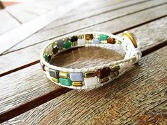 Leather wrap bracelet multicolor Czech glass beads crystal