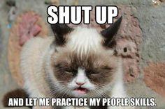 Grumpy Cat practices people skills