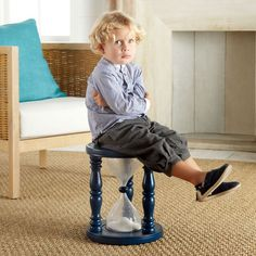 "TimerStool  Does your little girl or boy need a more playful take on time out? Ok ok, playful kind of defeats the purpose of time out, but this hourglass stool is pretty awesome and certainly makes your life easier when they ask ""how long do I have to sit here?"""