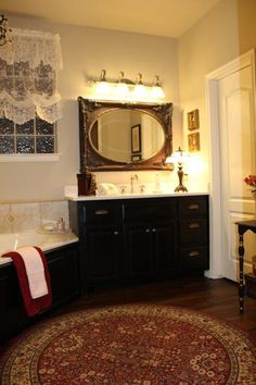 French Country Master Bathroom Reveal - Belle Bleu Interiors Diy Bathroom Remodel, Diy Bathroom Decor, Bathroom Ideas, Bathroom Designs, Bathroom Red, Master Bathroom, Bathroom Mirrors, Ideas Dormitorios, Layout