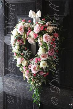 Heart wedding wreath, door decoration, this would be stunning on the church door, just love this!: