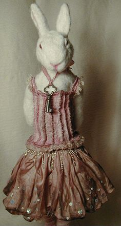 needle felted rabbit doll with handsewn costume, aged with pigments | kim parkhurst