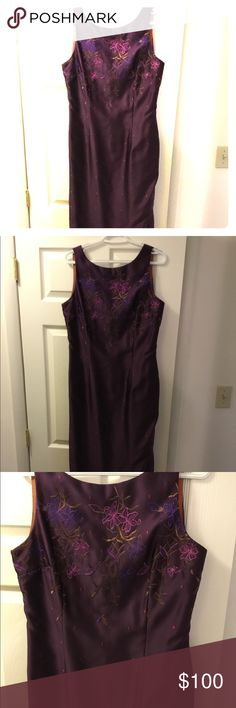 Beautiful sleeveless plum prom/formal  gown This beautiful silk plum colored gown is great for prom or formal. Sleeveless with slits on both side and zipper back. Only worn one evening and dry cleaned. Just a stunning gown. Fits to size. Great condition. Willing to take reasonable offers. Please take a look at my closet for other prom gowns. YL by Yair Dresses Prom