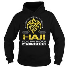 HAJI Blood Runs Through My Veins (Dragon) - Last Name, Surname T-Shirt