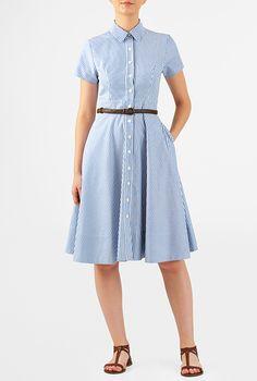 I <3 this Cotton stripe high waist belted shirtdress from eShakti