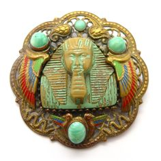Vintage Czech Art Deco Egyptian Revival Pharaoh Snake Peking Glass Brooch | Clarice Jewellery | Vintage Costume Jewellery