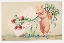 "Pig with Flowers,""New Years Greetings"",Embossed,Postcard,Used,1908"