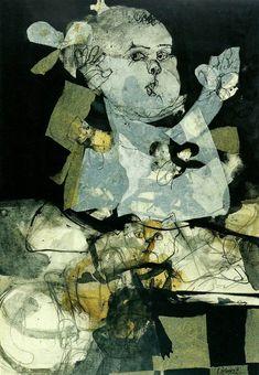 Niña con gato, de Carlos Alonso 1963. Tiza, carbón y papeles pegados sobre papel. 100 x 70 cm. Colección Carlos Curi, Buenos Aires. #Arte #Argentina