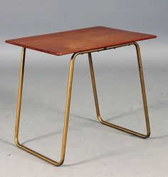 Arne Jacobsen; Teak and Anodized Metal Side Table, 1950s.