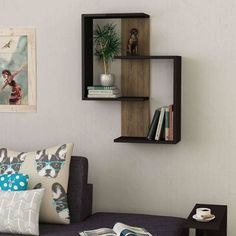 Home Office/Wall Book Shelf, Modern bookcase in grey,oak,mocha colour