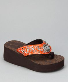 Take a look at this Orange Flower Bling Wedge Sandal by Bubblegum Diva on #zulily today!