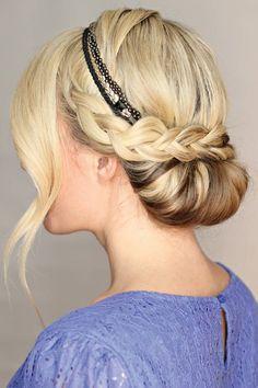 braided hairstyles - braided updo with headband Fancy Hairstyles, Summer Hairstyles, Braided Hairstyles, Wedding Hairstyles, Hairstyles With Headbands, Hairstyles 2018, Braided Updo, Hairband Hairstyle, Updo With Headband