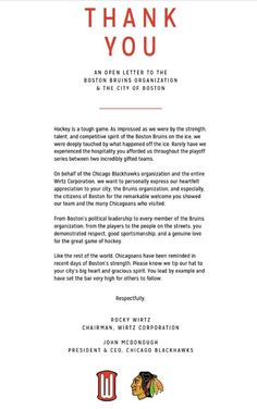 The Chicago Blackhawks' Classy Open Letter to Boston, the Bruins and their Fans.  Good sportsmanship at its finest!