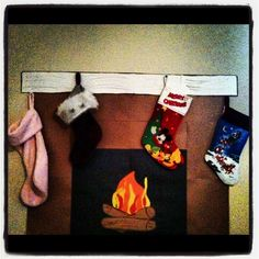Construction Paper Fireplace for our playroom - the kids loved it!