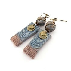 Blue and Brown Ceramic Earrings  Ceramic by CinLynnBoutique