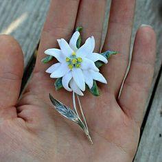 Edelweiss jewelry OOAK brooch made of polymer by Jewelrylimanska