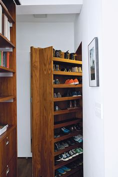 Small Space? 7 Gorgeous Storage Solutions #refinery29  http://www.refinery29.com/dwell/3#slide6  A deep closet offers much storage for shoes in a compact New York apartment.