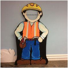 Construction Worker Photo Booth Prop Stand-in Wooden 1 Construction Birthday Party Face in Hole Cutout . Outdoor Photo Props, Diy Photo Booth Props, Construction Birthday Parties, Construction Theme, Construction Worker, Birthday Photo Booths, Birthday Photos, Birthday Ideas, Birthday Recipes