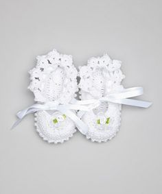 White Rosette Pearl Crocheted Booties by Pink and Blue Knitwear #zulily #zulilyfinds