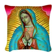 Guadalupe Tilma Virgin Mary Woven Throw Pillow