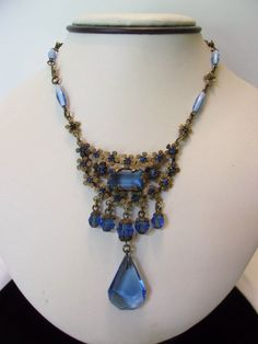 ART DECO Jewelry Necklace Blue Glass Bead Drop by AnnesGlitterBug