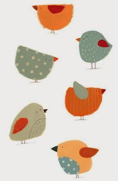 Cute birds - would make a cute applique Vogel Illustration, Cute Illustration, Art Illustrations, Bird Quilt, Cute Birds, Funny Birds, Bird Drawings, Little Birds, Art For Kids