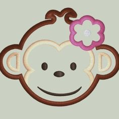 MOD Monkey look alike GIRL Monkey Face Machine Embroidery Applique Design in FIVE sizes