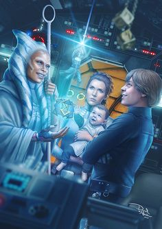 "ArtStation - The Legend of Anakin Skywalker, by Daniel de Almeida e Silva. ""After watch the final episode of Star Wars Rebels, I couldn't stop thinking that a encounter like that could happen sometime. So, as a fan, I had decide to draw that moment when Ahsoka Tano finally meet the children of her beloved friend. Luke and Leia (with young Ben Solo in her arms), in the cockpit of the Millenium Falcon, listening the countless stories from the Clone Wars and finally learning about the legend of Ana"