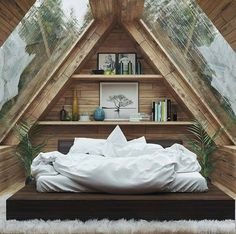 Beautiful House İn The Woods Home Interior Design — Beautiful Bedroom - Attic Bedroom Designs, Beautiful Bedroom Designs, Bedroom Loft, Beautiful Bedrooms, Bedroom Ideas, Bedroom Decor, Attic Bedrooms, Bedroom Makeovers, Teen Bedrooms