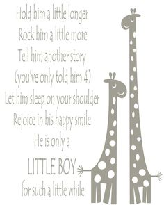 giraffe nursery hold him a little longer canvas print baby boy