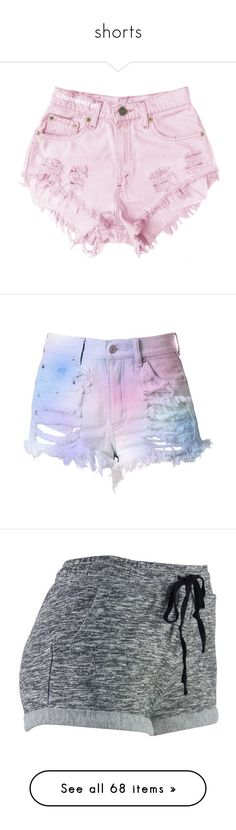 """""""shorts"""" by kittycatprincess ❤ liked on Polyvore featuring shorts, bottoms, pink, denim shorts, distressed denim shorts, distressed high waisted shorts, high rise denim shorts, distressed jean shorts, jean shorts and pants"""
