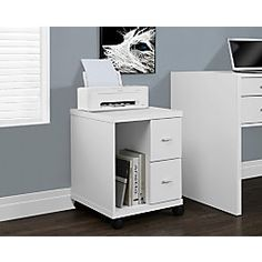 This mobile stand is the perfect combination of contemporary design and functionality. It features two drawers for added storage an open compartment for a computer tower books or other accessories and mounted on 4 castors for ease of mobility. Storage Cabinets, Storage Drawers, Storage Spaces, Art Storage, Media Storage, Kitchen Storage, Storage Ideas, Printer Cabinet, Filing Cabinet
